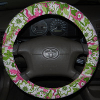 Girly Floral Steering Wheel Cover, Cute Girly Cotton Car Wheel Cover, Made in USA