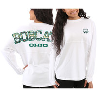 Ohio Bobcats Women's Aztec Sweeper Long Sleeve Top – White
