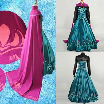 M L XL Snow Queen anna dress adult halloween princess anna Coronation cosplay costume Movie party women fancy dress Custom Made