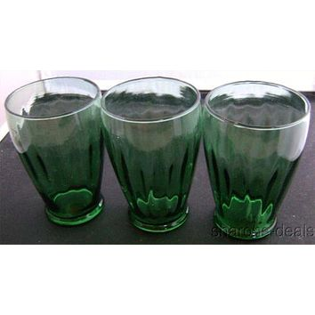 Green Clear Vintage Drinking Water Beverage Glasses Set 3 Barware Retro Lot