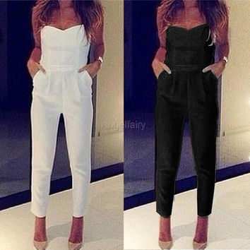 Women Party Boutique Bandeau Playsuit Ladies Maxi Jumpsuit Romper Trousers dress A_L = 1658512644