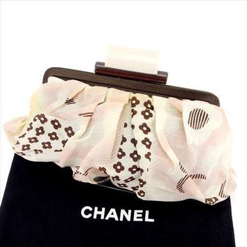 Chanel Party bag Camellia COCO Pink Brown Woman Authentic Used T6360