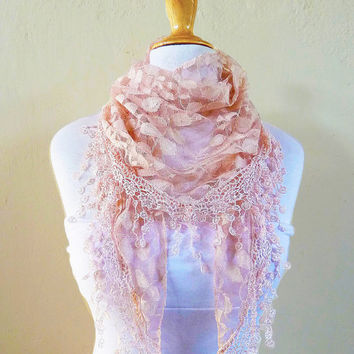 Womens scarf PEACH BEIGE with floral pattern and rich lace edge - scarflette shawl neckwarmer - Spring / Summer