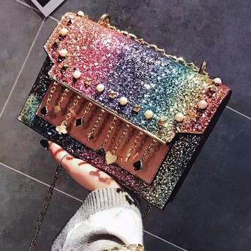Coach Fashion Women Tassel Shining Sequin Rainbow Shoulder Bag Women Shopping Bag
