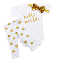 Baby Newborn coming home outfit | Gold Sparkly Dot Leggings Hello World Outfit with gold sequin bow