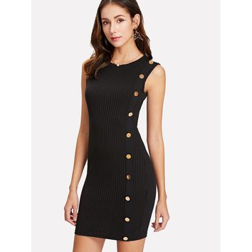 Button Detail One Side Ribbed Dress