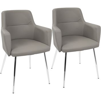 Andrew Contemporary Dining / Accent Chairs, Grey PU (Set of 2)
