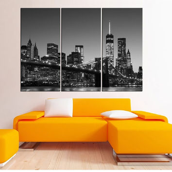 large manhattan Skyline canvas print, New York Manhattan wall art, Manhattan photo print black and white wall art, home decor 4S64