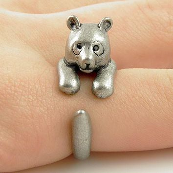 Animal Wrap Ring - Bear - White Bronze - Adjustable Ring - keja jewelry