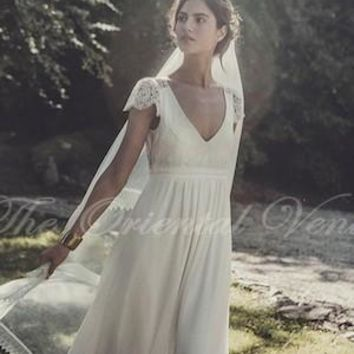 Vintage Lace Boho Beach Wedding Dress Cap Sleeves V-neck Keyhole Open Back Long Chiffon Summer Bohemian Bridal Gowns