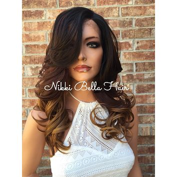 """Maria Brown to Blond Ombre Human Hair Blend Front Lace Wig 18"""" Full Fringe"""