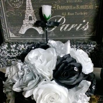 Silver Black White Rose Wedding Bouquet with matching Boutonniere