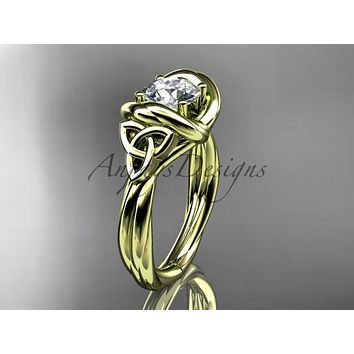 "14kt yellow gold trinity celtic twisted rope wedding ring with a ""Forever One"" Moissanite center stone RPCT9146"