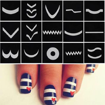 VONE2B5 18 Sheet/Set French Manicure Nail Art Tape Stickers DIY Stencil Nail Patterns Decals For Nails Art Decorations Stickers Strip