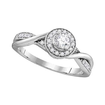 10kt White Gold Women's Round Diamond Solitaire Twist Bridal Wedding Engagement Ring 1/3 Cttw - FREE Shipping (USA/CAN)