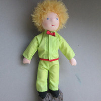 "12,75 "" The little Prince with rose, Waldorf inspired, collectible art doll, collectors's doll"