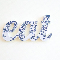 Eat wood sign, kitchen decor, blue and white word - photo prop, weddings, foodies, gift