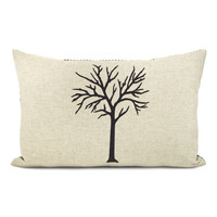 Tree pillow case - Dark brown tree print on natural canvas front and printed houndstooth back - 12x18 lumbar pillow cover