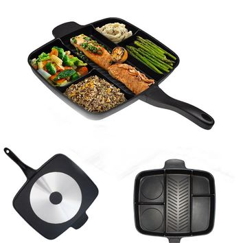 Black Aluminum Alloy Fry Oven Skillet Non-Stick 5 in 1 Frying Pan 5 Grids Grill Household Kitchen Cooking Tools Gadgets Fryer