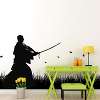 Japanese Ronin Samurai Swordsman in Field Wall Decal.  #525