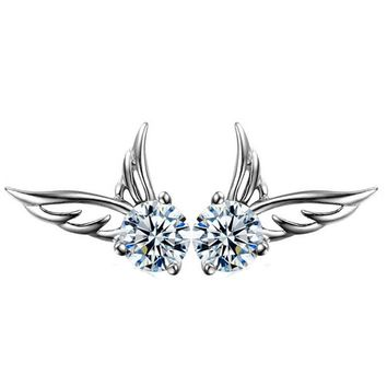 925 Silver Crystal Angel Wings Tiny Studs Earrings +Gift Box