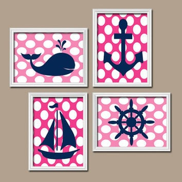 Nautical Girl Wall Art Nursery Artwork Bathroom Whale Navy Blue Hot Pink Polka Dots Sailboat Anchor Wheel Ocean Set of 4 Prints Girl Bedroom