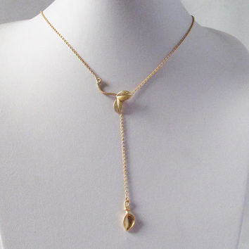 gold leaf lariat necklace custom made in the size you like can be made short and long