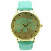 Geneva Ladies Elephant Print Leather Strap Watch - Mint