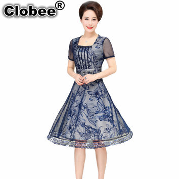 Clobee 2017 Summer Women Sexy Tunic Sequined Mesh Boho Beach Dress Short Sleeve Square Collar Swing A-line Printing Skater Dress