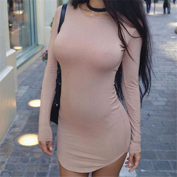 2017 Summer Beach Holiday Round Necked Long Sleeve Casual Party Playsuit Clubwear Bodycon Boho Dress [10424722447]