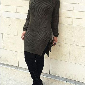 New Army Green Lace-up Long Sleeve Round Neck Casual Sweater Midi Dress