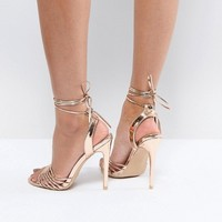 True Decadence Rose Gold Ankle Tie Heeled Sandal at asos.com