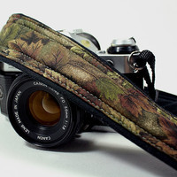 Camo dSLR Camera Strap, Pocket, Binoculars, Camo, Green, Black, SLR