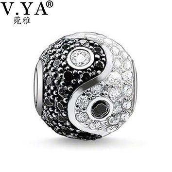 Unique Zircon Beads Yin&Yang Beads Charms fit Pandora Necklace Bracelet for Women Men