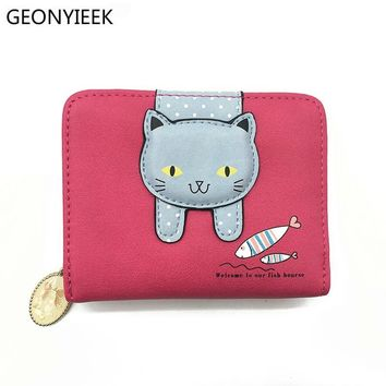 Women cute cat wallet small zipper girl wallet brand designed pu leather women coin purse female card holder wallet
