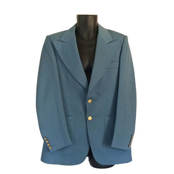 Vintage 70s Men Light Blue Suit Blazer Men Sport Jacket 40 Men Sport Coat Men Polyester Blazer 70s Blazer Retro Blazer Mens Suit Jacket