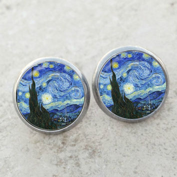 Van Gogh Starry Night earrings, Starry Night earrings, Van Gogh earrings, fine art earrings