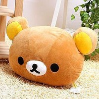 Rilakkuma San-X Car Bear Head Plush Cushion Pillow ~Brown Color~ 1pc kt56