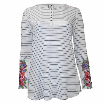 Striped Embroidered Henley