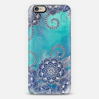 Mermaid's Garden - Navy & Teal Floral on Watercolor iPhone 6 case by Micklyn Le Feuvre | Casetify