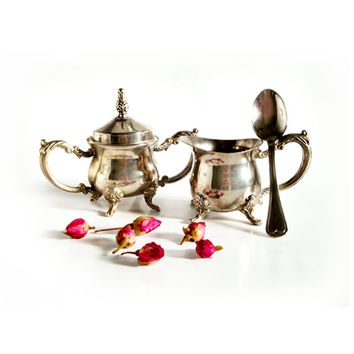 Antique Set Creamer and Sugar Bowl with Spoon , Antique silver plate tableware.
