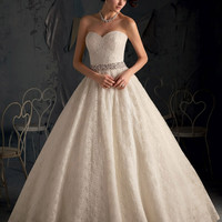 Blu by Mori Lee 5167 All Over Lace Ball Gown Wedding Dress