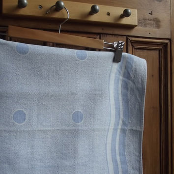 vintage tablecloth polks dots spots retro blue vtg dinning room home decor country cottage shabby chic