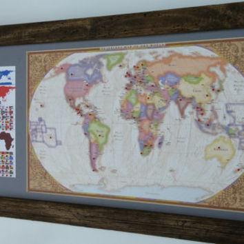 Hand made farmhouse frame w/ beautiful world map on canvas and the ultimate travelers bucket list FREE SHIPPING!!!