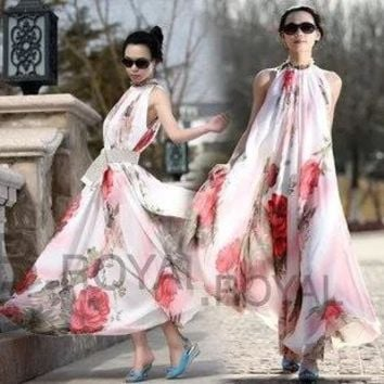 Fashion Women Dress Summer Bohemian Long Maxi dress Party Skirt Flowers Printed Chiffon Sleeveless cheap Casual Dress Clothing Free Size
