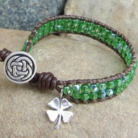Lucky - leather wrap bracelet green beads silver 4-leaf clover charm
