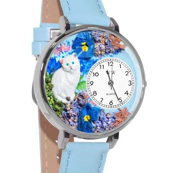 White Cat Baby Blue Leather And Silvertone Watch
