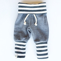 Gray Striped Skinny Sweats / Baby Boy Leggings / Baby Girl Leggings / Baby Sweatpants