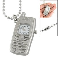 White Square Dial Silver Tone Cell Phone Style Watch Pendant Necklace for Women