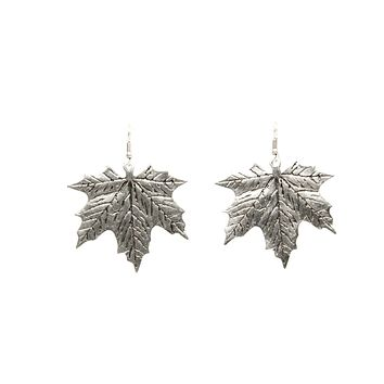 Leaf Silver Plated Dangle Earrings with Antique Look